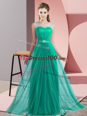 Nice Sleeveless Lace Up Floor Length Beading Bridesmaid Dress