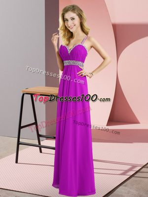 Purple Prom and Party with Beading Straps Sleeveless Criss Cross