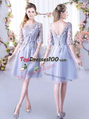 Fantastic Mini Length A-line Half Sleeves Grey Wedding Guest Dresses Lace Up
