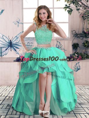 Apple Green Sleeveless High Low Beading and Lace and Ruffles Zipper Prom Homecoming Dress