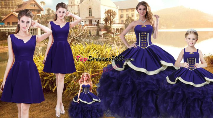 Purple Quince Ball Gowns Sweet 16 and Quinceanera with Ruffles Sweetheart Sleeveless Lace Up