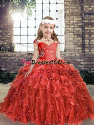 Dazzling Red Sleeveless Floor Length Beading and Ruffles Lace Up Pageant Dress Toddler