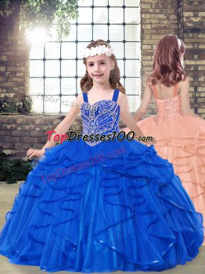 Superior Royal Blue Ball Gowns Straps Sleeveless Tulle Floor Length Lace Up Beading and Ruffles Little Girl Pageant Dress