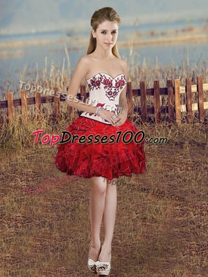 Red Organza Lace Up Sweetheart Sleeveless Mini Length Hoco Dress Embroidery and Ruffles