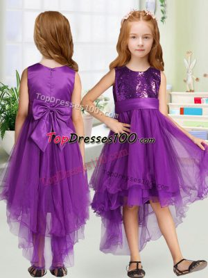 Popular Purple Zipper Scoop Sequins and Bowknot Flower Girl Dresses Organza Sleeveless