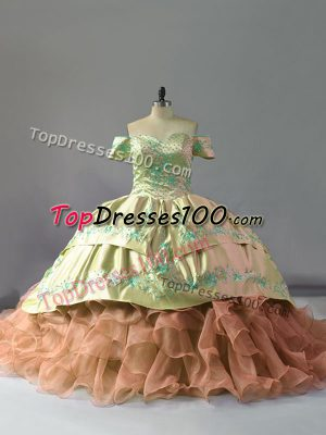 Off The Shoulder Sleeveless Organza Quinceanera Dress Embroidery and Ruffles Chapel Train Lace Up
