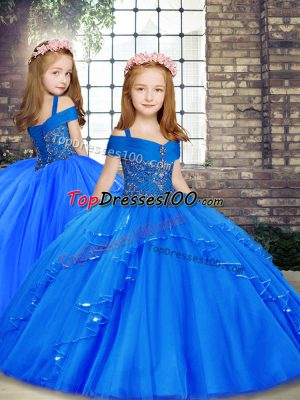 Straps Sleeveless Child Pageant Dress Floor Length Beading Blue Tulle