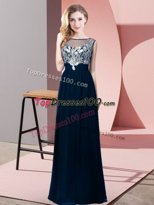 Low Price Scoop Sleeveless Backless Prom Dress Navy Blue Chiffon