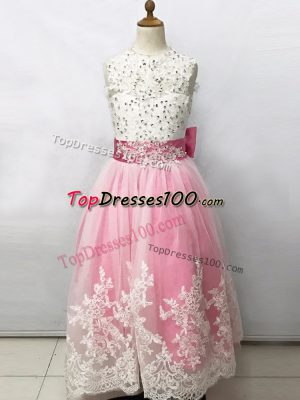 Sleeveless Beading and Lace and Bowknot Lace Up Flower Girl Dresses
