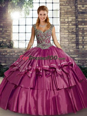 Fuchsia Taffeta Lace Up Straps Sleeveless Floor Length Quinceanera Dress Beading and Ruffled Layers