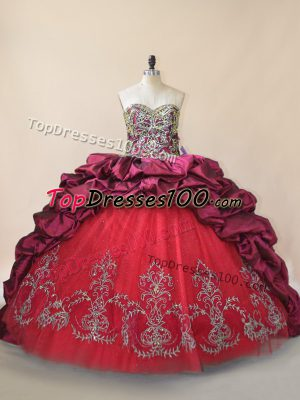 Sleeveless Taffeta and Tulle Brush Train Lace Up Quinceanera Dress in Fuchsia with Beading and Pick Ups