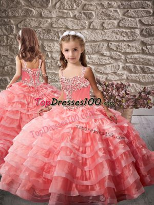 Lace Up Kids Pageant Dress Watermelon Red for Prom and Sweet 16 and Wedding Party with Beading and Ruffled Layers Brush Train