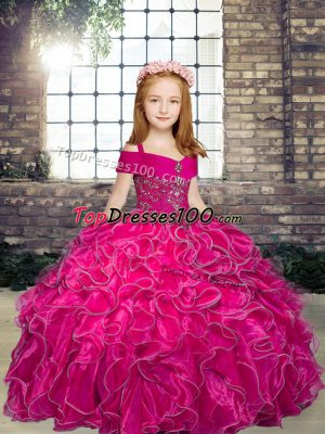 Low Price Ball Gowns Pageant Dress Fuchsia Straps Organza Sleeveless Floor Length Lace Up