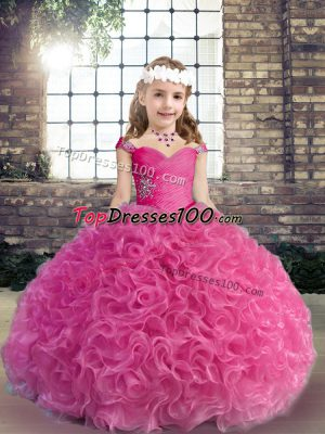 Fuchsia Straps Neckline Beading and Ruching Little Girl Pageant Gowns Sleeveless Lace Up