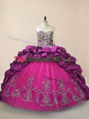 Purple Taffeta and Tulle Lace Up Sweetheart Sleeveless Quinceanera Dresses Brush Train Beading and Pick Ups