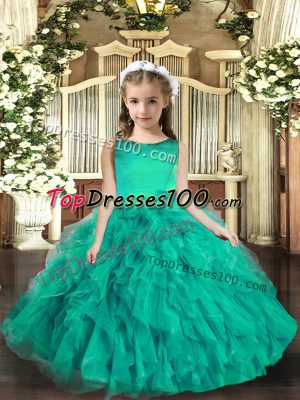 Top Selling Turquoise Sleeveless Tulle Lace Up Pageant Dress Wholesale for Party and Wedding Party