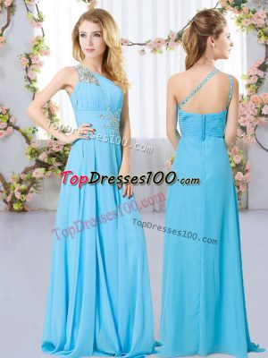 Admirable Aqua Blue Chiffon Zipper One Shoulder Sleeveless Floor Length Wedding Guest Dresses Beading