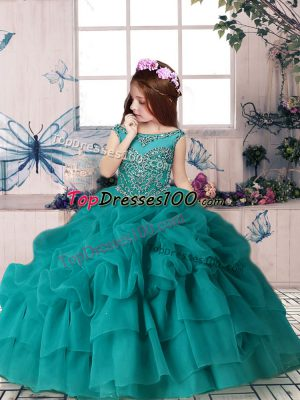 Floor Length Teal Pageant Dress Toddler Scoop Sleeveless Zipper