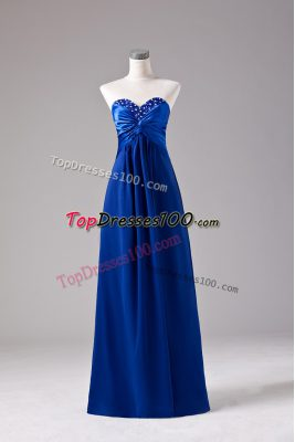 Royal Blue Sleeveless Chiffon Lace Up Evening Dress for Prom and Party