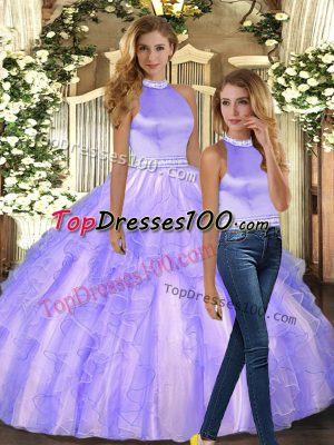 Ball Gowns Ball Gown Prom Dress Lavender Halter Top Tulle Sleeveless Floor Length Backless