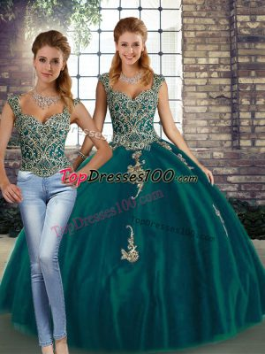 Nice Peacock Green Sleeveless Floor Length Beading and Appliques Lace Up Quinceanera Dress