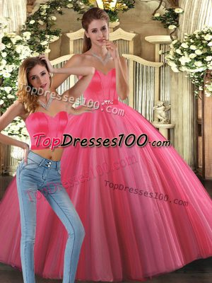 Exceptional Coral Red Sleeveless Tulle Lace Up Vestidos de Quinceanera for Sweet 16 and Quinceanera