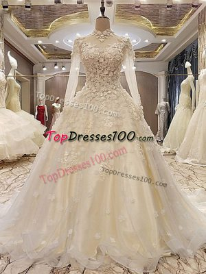 Smart White High-neck Neckline Appliques Wedding Dresses Long Sleeves Lace Up