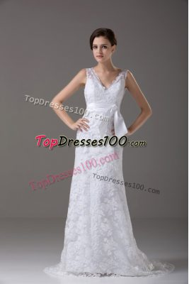 Flirting White Sleeveless Lace and Belt Backless Wedding Gown