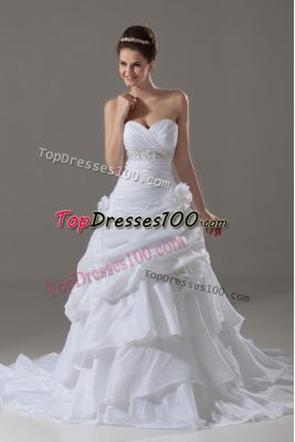 Amazing White A-line Beading and Pick Ups and Hand Made Flower Wedding Gowns Lace Up Taffeta Sleeveless