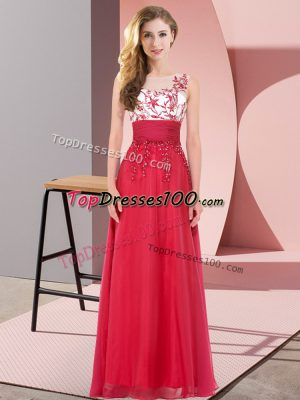 Custom Made Sleeveless Chiffon Floor Length Backless Bridesmaids Dress in Red with Appliques