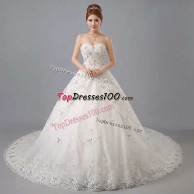 Glittering White Lace Up Sweetheart Beading and Lace Wedding Dress Tulle Sleeveless Chapel Train