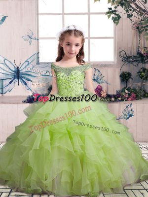 Popular Sleeveless Beading and Ruffles Lace Up Girls Pageant Dresses