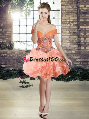 Most Popular Mini Length Lace Up Homecoming Dresses Orange for Prom and Party with Beading and Ruffled Layers