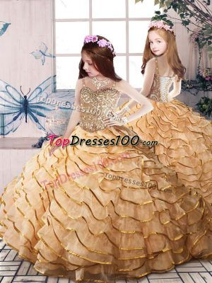 Gold Lace Up Little Girls Pageant Dress Beading and Ruffled Layers Sleeveless Court Train