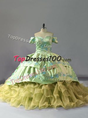 Organza Off The Shoulder Sleeveless Chapel Train Lace Up Embroidery and Ruffles Vestidos de Quinceanera in Yellow Green