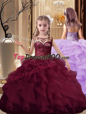 Eye-catching Burgundy Organza Lace Up Little Girl Pageant Gowns Sleeveless Brush Train Beading and Ruffles