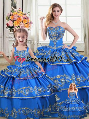 fa88ed4cfe Extravagant Royal Blue Lace Up 15 Quinceanera Dress Embroidery and Ruffled  Layers Sleeveless Floor Length