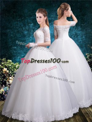 Low Price White Off The Shoulder Neckline Lace Wedding Dresses Half Sleeves Lace Up