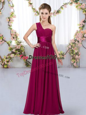 Nice Sleeveless Floor Length Belt Lace Up Bridesmaid Dress with Fuchsia