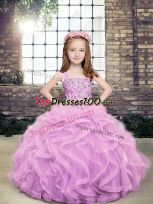 Elegant Floor Length Lace Up Winning Pageant Gowns Lavender for Party and Sweet 16 and Wedding Party with Beading and Ruffles