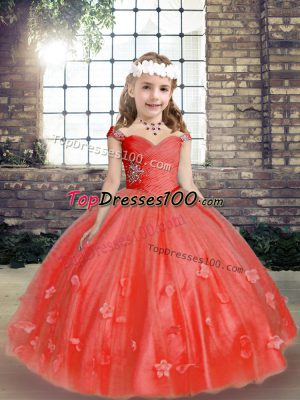 Ball Gowns Sleeveless Coral Red Little Girls Pageant Dress Lace Up