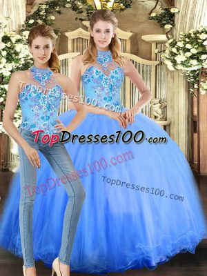 Dazzling Sleeveless Tulle Floor Length Lace Up Quinceanera Dresses in Blue with Embroidery