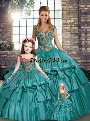 Most Popular Sleeveless Taffeta Floor Length Lace Up Quince Ball Gowns in Teal with Beading and Ruffled Layers