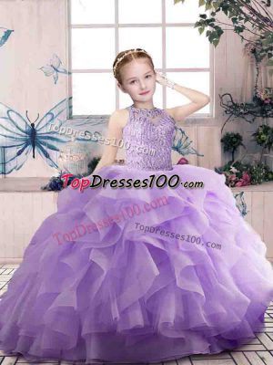 Lavender Sleeveless Beading and Ruffles Floor Length Kids Formal Wear