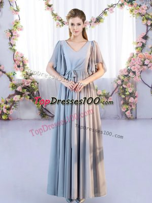 Wonderful Grey Empire V-neck Short Sleeves Chiffon Floor Length Lace Up Belt Wedding Guest Dresses