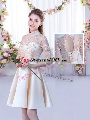 Designer Satin High-neck Half Sleeves Lace Up Lace and Belt Wedding Party Dress in Champagne