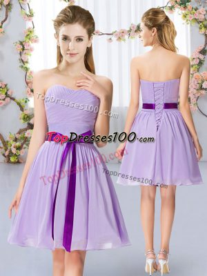 Lavender Sweetheart Neckline Belt Wedding Party Dress Sleeveless Lace Up