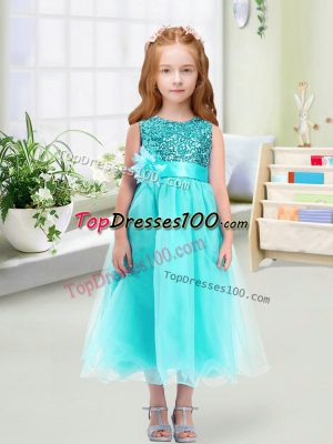 Wonderful Tea Length Zipper Flower Girl Dresses Aqua Blue for Wedding Party with Sequins and Hand Made Flower
