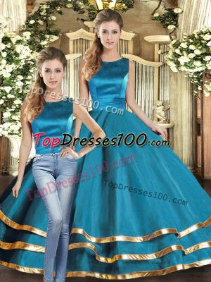 Chic Teal Lace Up Scoop Ruffled Layers Quince Ball Gowns Tulle Sleeveless