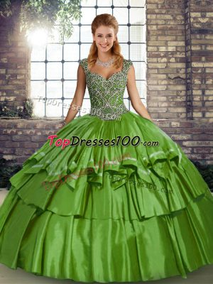 Elegant Taffeta Sleeveless Floor Length Sweet 16 Quinceanera Dress and Beading and Ruffled Layers